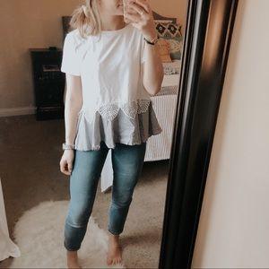 SheIn Knit Gray & White Peplum Top
